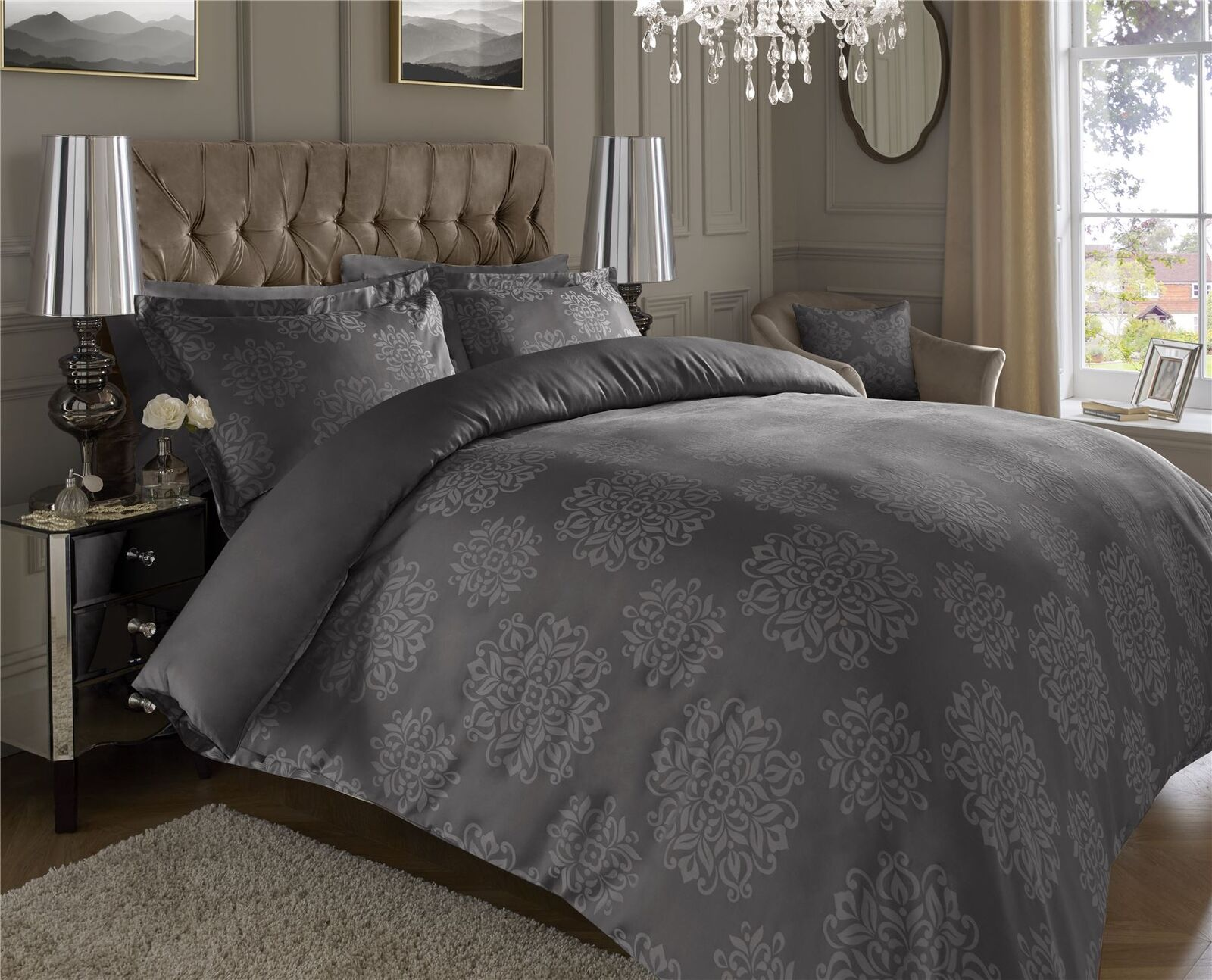 Luxury Trapunta 600TC Fili Cotone Jacquard Trapunta Luxury Copripiumone Federe per Cuscini Set 9dcbdf
