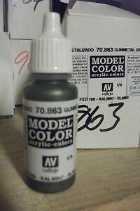 MODEL-HOBBY-PAINT-17ml-BOTTLE-VAL863-AV-Vallejo-Model-Color-Metallic-Gunmetal