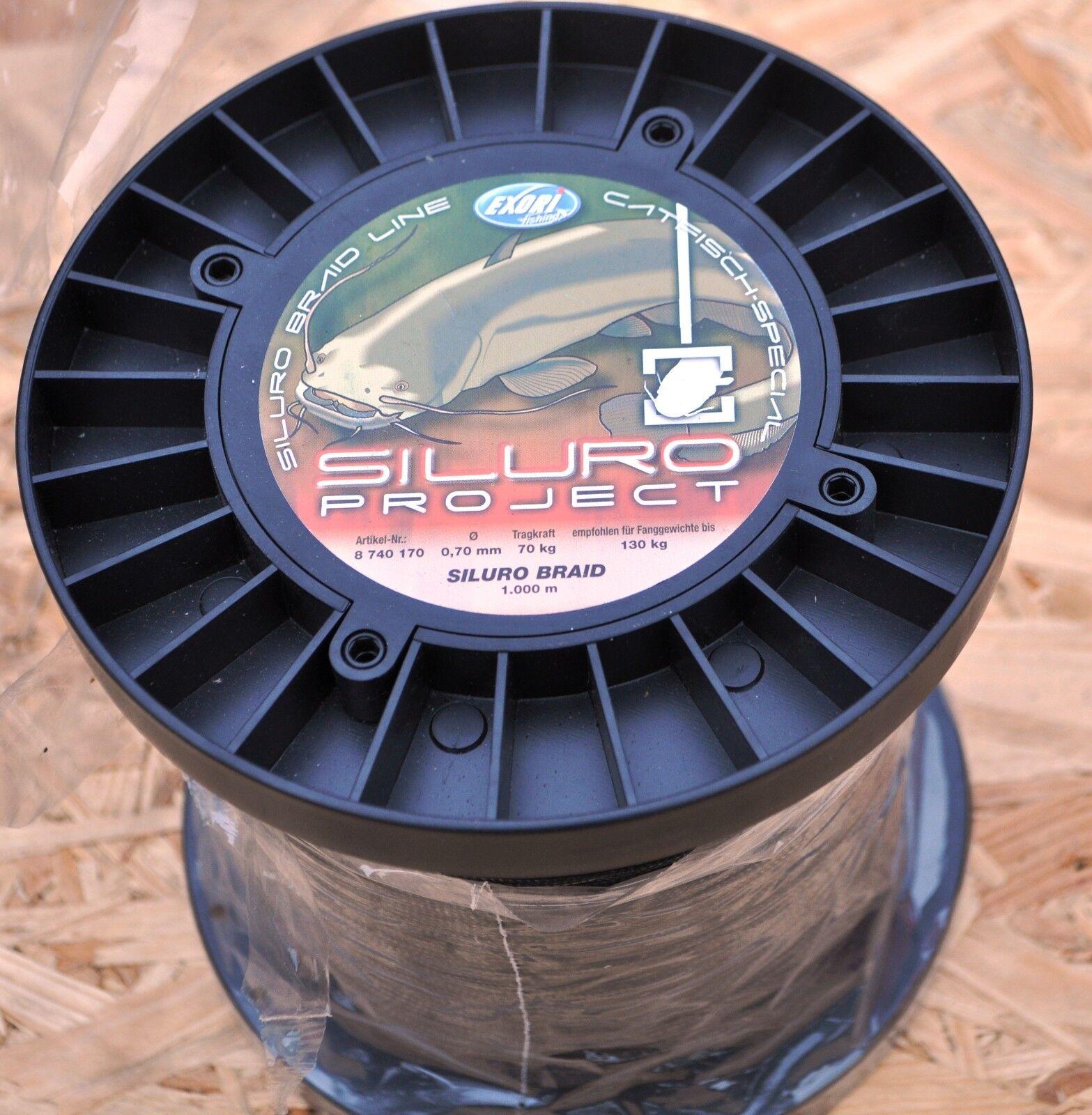 Wallerpaket  6 1000 meter Welsschnur 0,70mm Siluro Projekt Wallerschnur Exori