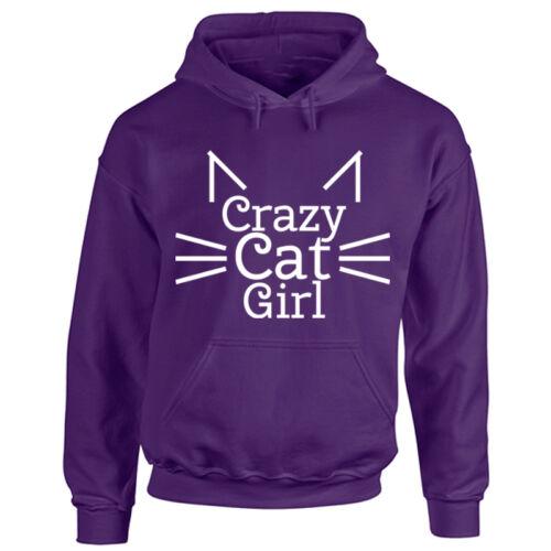 Mesdames Crazy Cat à capuche-Chaton Animal amoureux animal-Dame Adulte haut à capuche nouveau