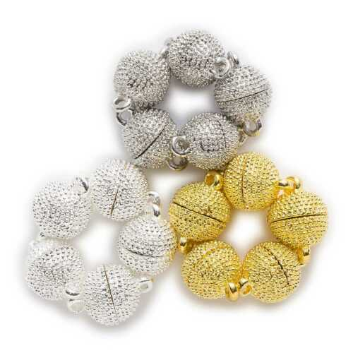 2 Sets Round Polka Dots Carving Magnetic Clasps Jewelry Making Connectors 8-10mm