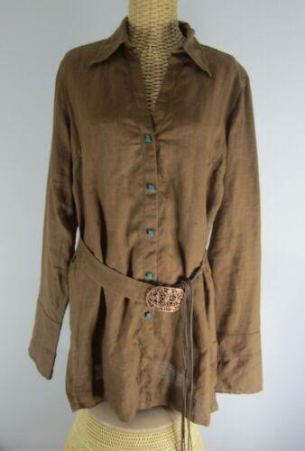 Vtg Rene Derhy Womens Large Brown LS Linen Boho So