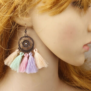 Circle-Alloy-Long-Tassel-Retro-Bohemian-Folk-Wind-Earrings-Wedding-LD
