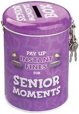 NEW Money Box Tin PAY UP INSTANT FINES FOR SENIOR MOMENTS Key & Padlock