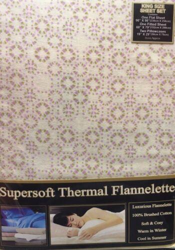 KING SIZE FLANNELETTE SHEET SET CIRCLES CREAM PINK LILAC 100/% BRUSHED COTTON