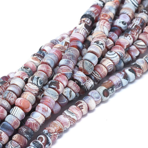 2 Strd Natural Weathered Agate Rondelle Beads Mini Stone Loose Spacer 8x3~5mm