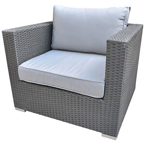 luxus gartenm bel polyrattan lounge sessel sofa rattan anthrazit kissen grau ebay. Black Bedroom Furniture Sets. Home Design Ideas
