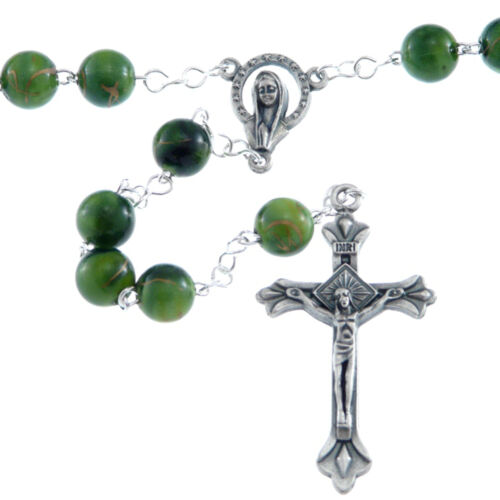 UK Seller Ornate Green Rosary Beads with Miraculous Medal Junction