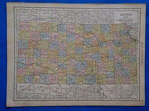 Old Kansas Map.Vintage 1915 Kansas Map Old Antique Original Atlas Map 101518 Ebay