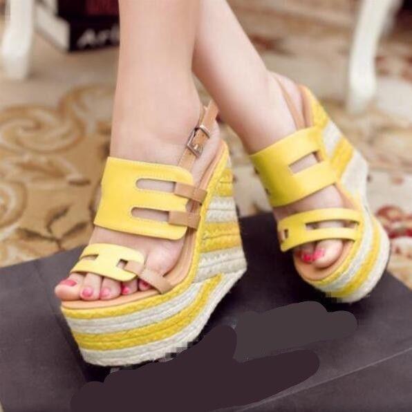 Roman Womens Straw High Platform Sandals Summer Buckle Wedge Heel Open Toe shoe