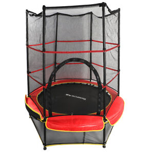 "55"" Round Kids Trampoline with Safety Enclosure Pad Rebounder Outdoor Exercise"