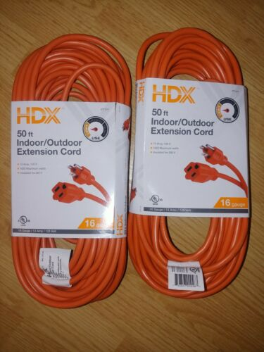 2x HDX 50 ft Light-Duty Indoor//Outdoor Extension Power Cord Cable 13 Max Amp