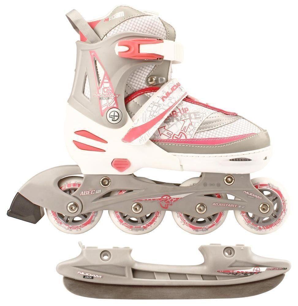 Nijdam 2In1 Semi SoftStiefel Kinder Inline Skates Rollschuhe Schlittschuhe, Mehrfar
