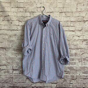 Vineyard-Vines-Large-L-Whale-Shirt-Plaid-Gingham-Blue-Pink-Long-Sleeve-Button