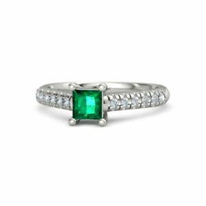 1.20 Carat Real Diamond Emerald Gemstone Ring 14K White Gold Size M N O P 1/2 Q