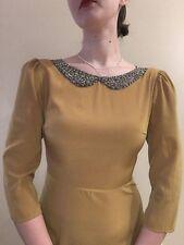 Modcloth mustard yellow, beaded peter pan collar dress - size medium