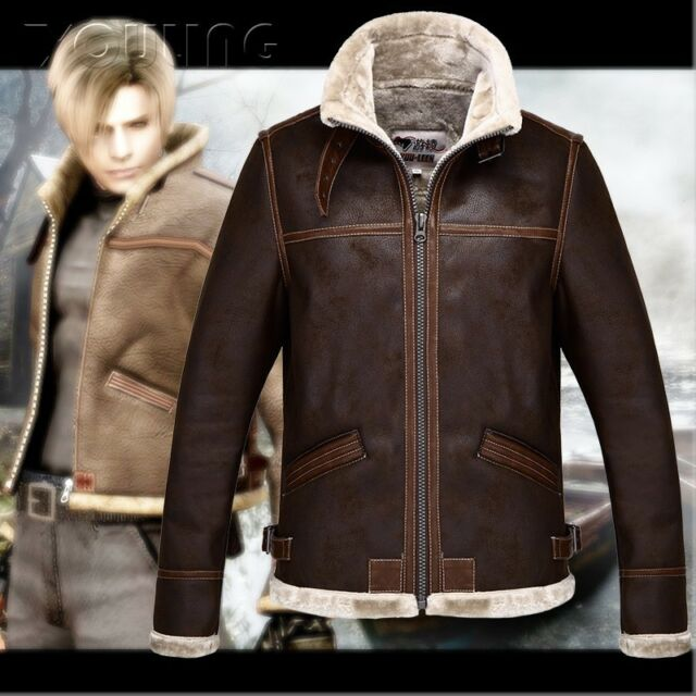 Unisex RE4 RESIDENT EVIL 4 LEON KENNEDY'S Faux LEATHER FUR JACKET Coat Cosplay