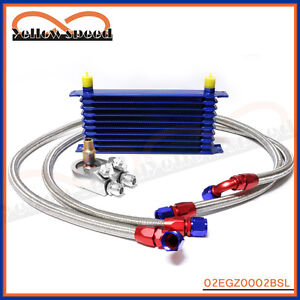 10-ROW-AN-10AN-UNIVERSAL-ENGINE-OIL-COOLER-KIT-ALUMINUM-HOSE-END-BLUE