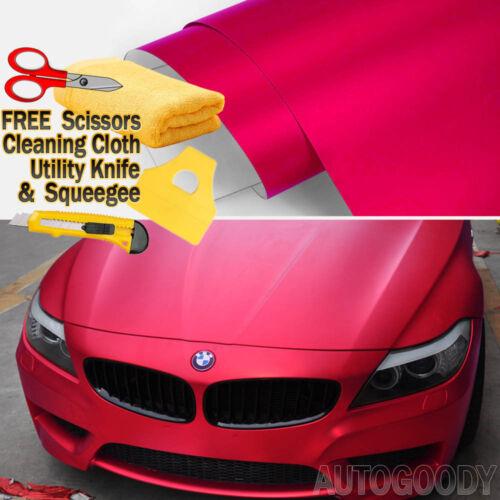"48/"" x 60/"" Satin Matte Chrome Metallic Red Vinyl Film Wrap Sticker Bubble Free"