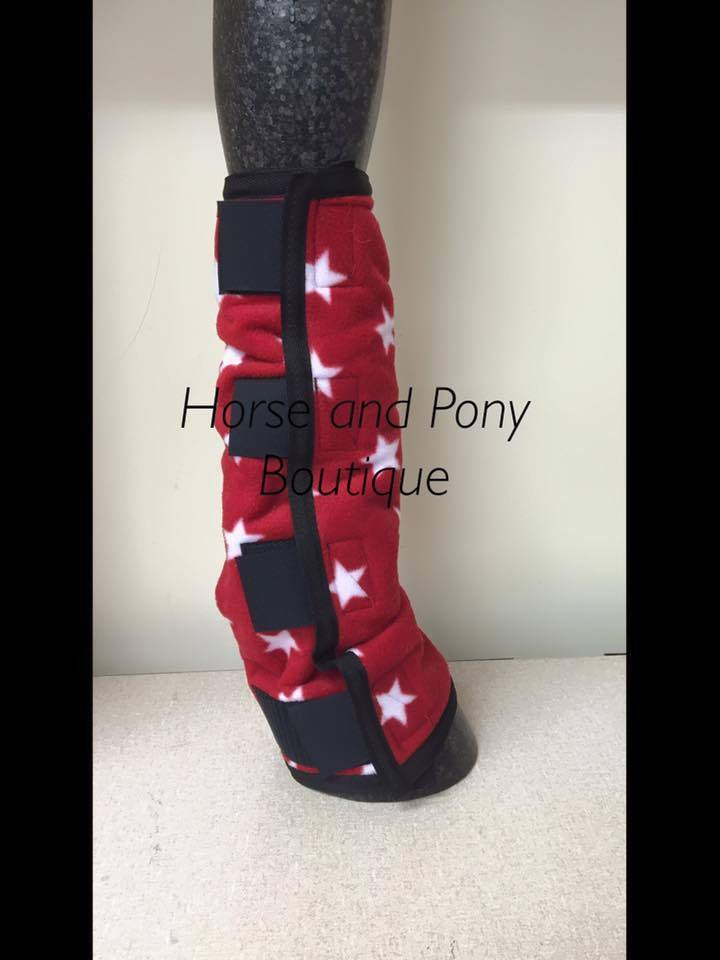 Fleece Horse leg wraps ROT with stars Weiß stars with set of 4 9e8b5a