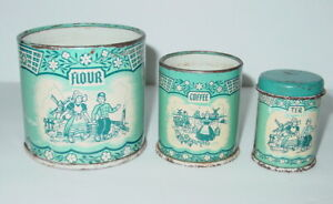 Small-3-Blue-Metal-Toy-Canisters-Flour-Coffee-Tea-Dutch-Kids-Windmill-Child