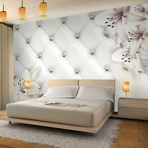 Details zu Vlies Fototapeten 3D Effekt Leder Blumen Tapete Schlafzimmer  Wandbilder XXL