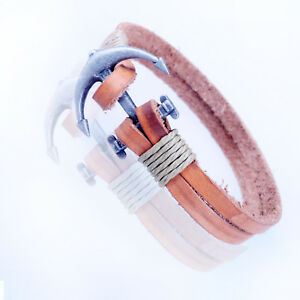 MENS-Fawn-REAL-Genuine-LEATHER-amp-STAINLESS-STEEL-BRACELET-WRISTBAND-1UKAU098FWB3