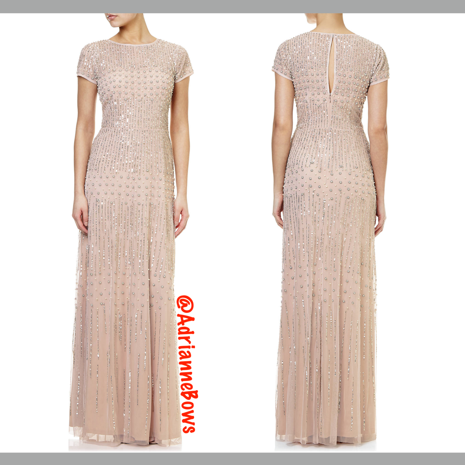 NEW Adrianna Papell Pearl Beaded Mesh Gown in Shell Pink [SZ 12 ] #N473