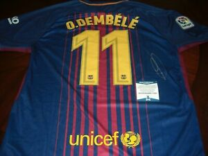 quality design 874fb 9594b Details about OUSMANE DEMBELE FRANCE 2018 WORLD CUP CHAMPS,BARCELONA  BECKETT/COA SIGNED JERSEY