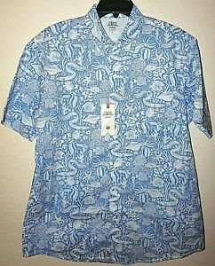 IZOD-Saltwater-Mens-Outpost-Relaxed-Camp-Shirt-Ocean-Fish-NWT-55-XL-or-XXL-New