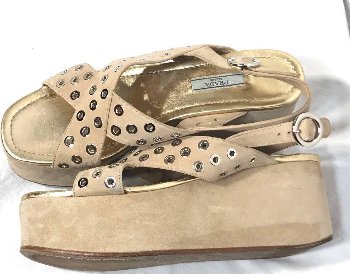 Plataforma De Gamuza Para Mujer talla PRADA puntera abierta sandalia talla Mujer 40 ec8f88