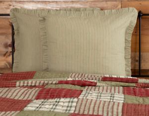 PRAIRIE-WINDS-Green-Ticking-Stripe-Euro-Sham-Sage-Ruffle-Farmhouse-VHC-Brands
