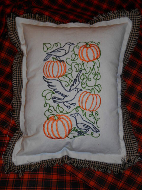 CROWS & PUMPKINS Embroidered Pillow, FALL,LEAVES, AUTUMN,HALLOWEEN,country, prim