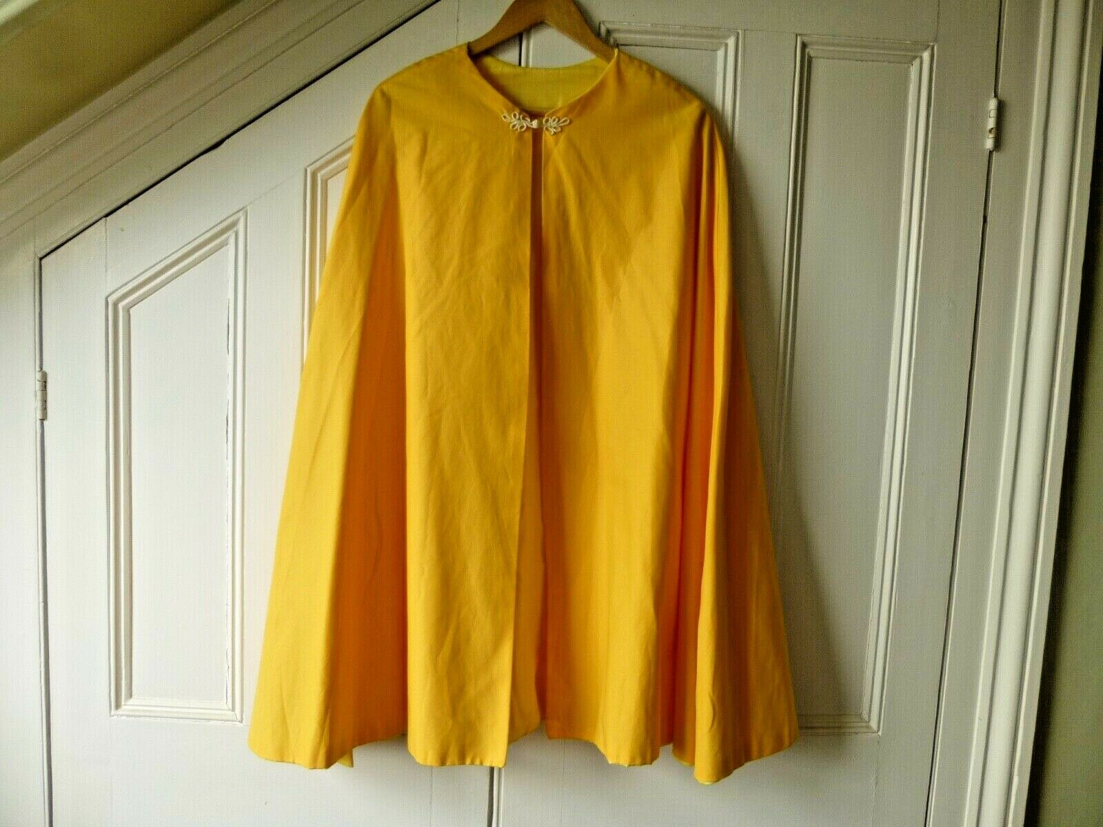 Fancy Dress Bright Yellow/Gold Cape with Decorative 'Frog' Trim Closure