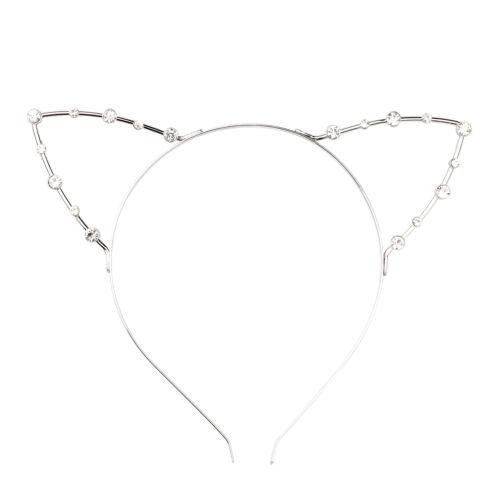 Cat Ear Party Pearl Rhinestone Headband Punk Hair Wrap Silver W5W6