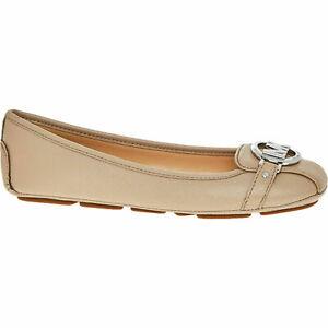 110-MICHAEL-KORS-Designer-Beige-Fulton-Moc-Flat-SlipOn-Ballerina-Shoes-UK-3-5-7