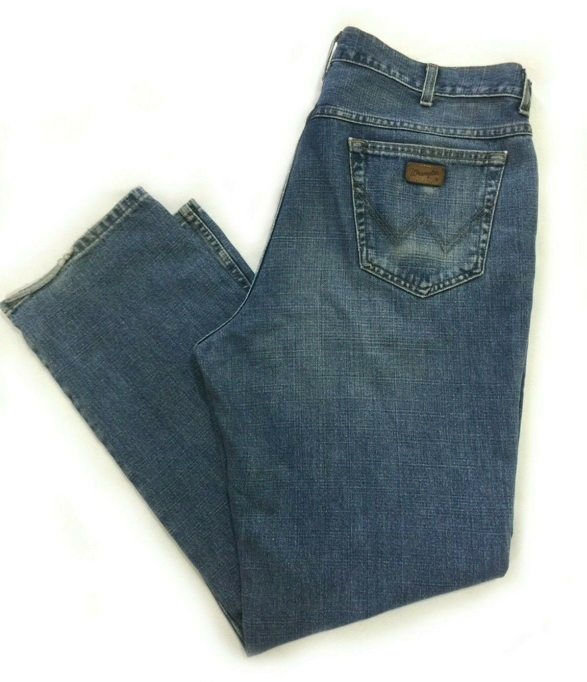 Wrangler Mens Straight Leg Jeans Size W40 L32 Texas bluee Wash Zip Workwear Work