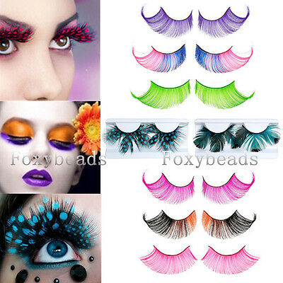 Womens Fancy Feather Thick Long False Eyelashes Eye Lashes Party Makeup Beauty