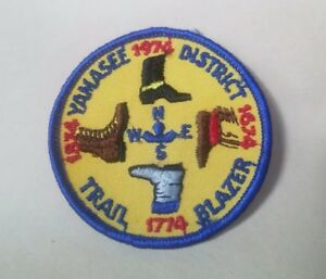 Vintage-1974-BSA-Boy-Scouts-Yamasee-District-Trail-Blazer-Boots-Patch-EUC