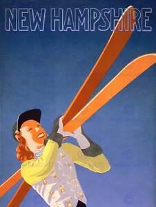 Viajes-Turismo-New-Hampshire-Deporte-de-Invierno-Esqui-nueva-impresion-de-arte-poster-CC4432