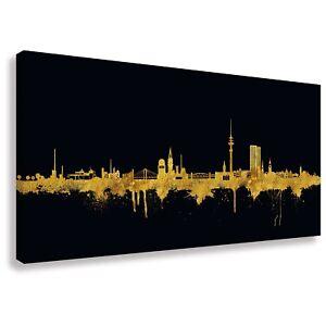 Das Bild Wird Geladen Panorama Wandbild Von Hamburg Skyline Gold Kunstdruck  Leinwand