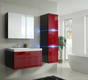 badm bel lux 1 new mdf badezimmerm bel rot hochglanz schwarz keramikbecken led ebay. Black Bedroom Furniture Sets. Home Design Ideas