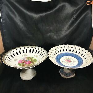 Set-of-Vintage-Porcelain-Pedestal-Lace-Rim-Ornate-Bowls-M4026