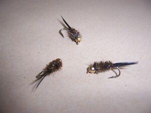 Goldhead BLACK Crystal Damsel Nymph Fishing Flies attr size 10-14 Salmoflies