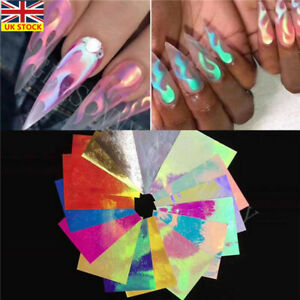 16Pcs-Holographic-Fire-Flame-Nail-Hollow-Sticker-Manicure-Decal-Nail-Art-Decors