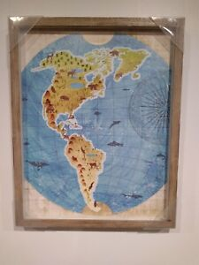 Black Framed Wall Art 16 X 20 In Wood Old World Map Painting Print