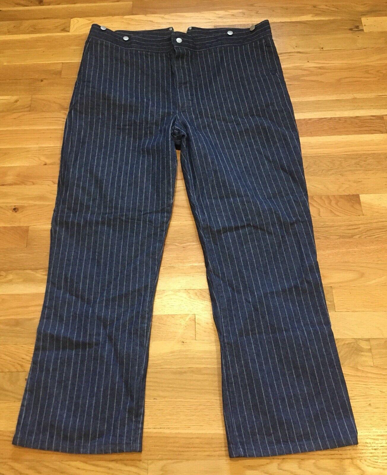 Cowboy Corral Blue Pinstripe Western Steampunk Denim Pants Size 42 x 31