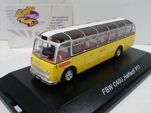 """Schuco 26264 # FBW C40U Überlandbus /"""" Haifisch /"""" in gelb-weiß /"""" PTT /"""" 1:87  NEU"""