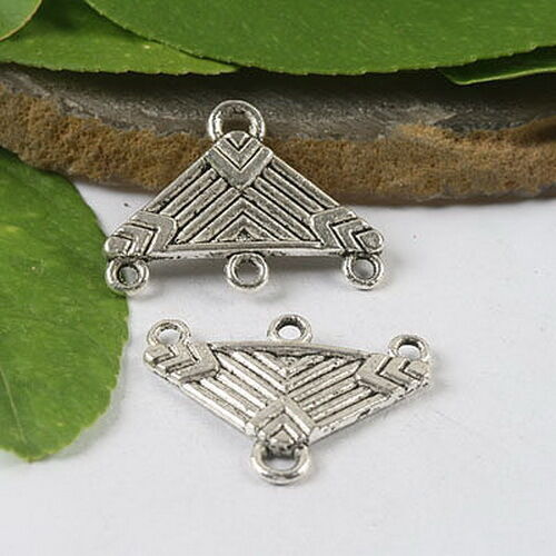 10pcs Tibetan Silver Triangle Connectors Findings H0554