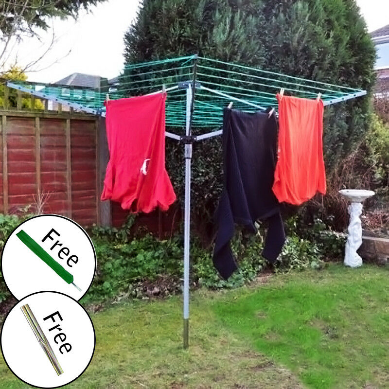 Rotary Airer 4 Arm Garden Clothes Dryer Washing Line Folding Outdoor Dry Pole Ebay